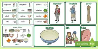 Stone Soup Resource Pack Gaeilge - Stone Soup Anraith Cloiche, glasraí, saighdiúirí, sráidbhaile, plean, feoil, anraith, cloch, Iri