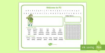 Welcome to P3 Desk Mat English/Spanish - P3, desk mat, days of the week, monday, tuesday, wednesday, thursday, friday, saturday, sunday, mont