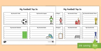 My Football Top 5's Worksheet / Activity Sheet - World Cup, favourite player, soccer, favourite team, ranking, preferences, worksheet