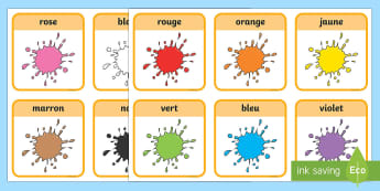 Flashcards : Les couleurs - Couleurs, colours, Cycle 1, flashcards, cartes, cycle 2,French