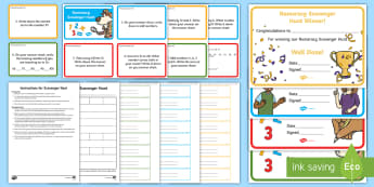 Numeracy Scavenger Hunt Lesson Pack - NI KS1 Numeracy, practical maths, revision, number, group task, teamwork, game, race, treasure, math