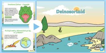Pŵerbwynt Ffeithiau Deinosoriaid  - deinosor, deinosoriaid, cigysydd, hollysydd, t-recs, stegosawrws, traiseratops, ffosiliau, sgerbwd,
