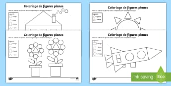 Coloriage magique : Les figures planes - KS1, cycle 2, cycle 3, cycle 1, maths, mathématiques, figures planes, formes, rectangle, cercle, ca
