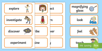 Investigation Area Word Cards - EYFS, Display, Exploration Area, Science, Understanding The World, Investigate, Explore.