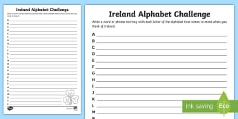 Ireland Alphabet Challenge Writing Activity Sheet - taxonomy, Éire, irish, lists, alphabetical,Irish