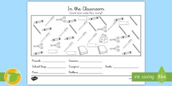 A1 Ficha de actividad: Cuenta y escribe ¿Cuántos? 1- 10 - En la clase - contar, clase, escuela, objetos escolares, cuántos hay ,Spanish