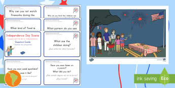 Independence Day Scene and Question Cards US English/Spanish (Latin) - 4th July, July 4th, American Independence, 4th of July, scene, question cards, Independence Day scen