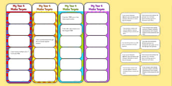 2014 Curriculum Year 4 Maths Target Bookmarks - numeracy, ks2