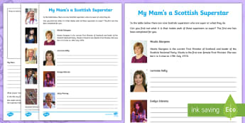 Mother's Day My Mam's a Scottish Superstar Activity Sheet - CfE Mother's Day March 26th, events, Scotland, Scottish, celebrities, Olympians, actress, author, T