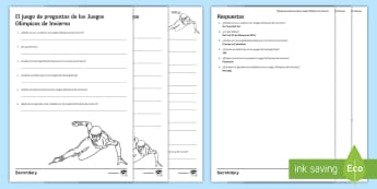 Winter Olympics Differentiated Quiz Activity Spanish - sports, game, olympic, games, free, time