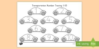 Transportation Number Tracing 1-10 Activity Sheet - transportation, transportation math, number tracing,worksheet, cars, transportation activity sheet
