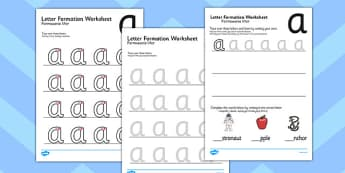 a z Letter Formation Worksheets Polish Translation - writing, pd, fine motor skills, letters, alphabet
