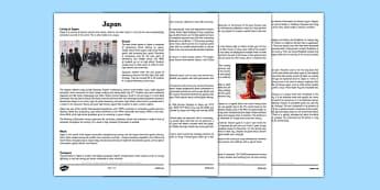 Japan Information Sheets - japan, information sheets, information