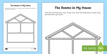 The Rooms in My House Drawing Activity - World Around Us KS2 - Northern Ireland, house, home, street, rooms, bathroom, kitchen, me, ourselves