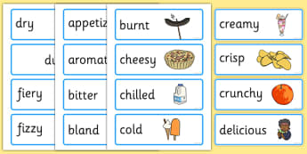Food Adjectives Word Cards with Pictures - food, adjectives, word cards, pictures