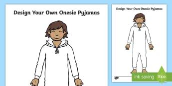 Design Your Own Onesie Pyjamas Activity Sheet - Design Your Own Watch Activity - time, clocks, design, art, watch, Timw, Time, worksheet, activity,