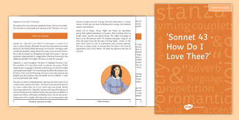 'Sonnet 43 - How Do I Love Thee?' Notes for Study  - Sonnet 43, sonnets from the portuguese, Elizabeth Barrett Browning, Robert Browning, GCSE poetry rev