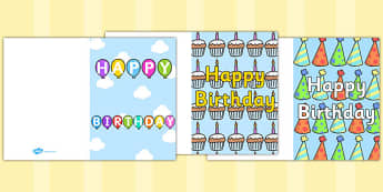 Birthday Card Writing Template - Blank editable card templates, birthday card, happy birthday, birthday, editable, card template, editable template, card design, design, card, card template, foundation stage, Template, Card Design, fine motor skills,