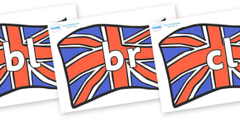 Initial Letter Blends on British Flags - Initial Letters, initial letter, letter blend, letter blends, consonant, consonants, digraph, trigraph, literacy, alphabet, letters, foundation stage literacy