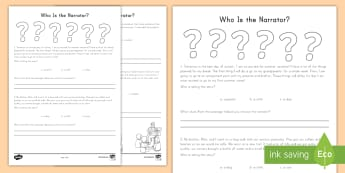 Who Is the Narrator?  Worksheet / Activity Sheet - Common Core, ELA, Narrator, Evidence, Supporting Information, Passages, worksheet