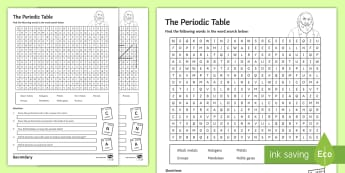 The Periodic Table Word Search - periods, mendeleev, halogens, groups, noble gases