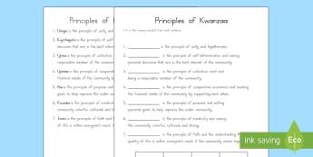 Principles of Kwanzaa Missing Words Worksheet / Activity Sheet - Kwanzaa, Principles of Kwanzaa, worksheets, usa festivals, america