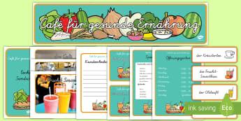 Café für gesunde Ernährung Rollenspiel: Materialsammlung - Rollenspiel, Rollenspiele, zusammen spielen, vorspielen, Café für gesunde Ernährung, gesunde Ern