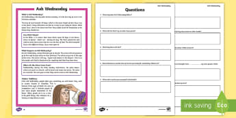 Ash Wednesday Differentiated Comprehension Go Respond Activity Sheets - Ash Wednesday, Lent, Easter, reading comprehension, reading, independent reading, questions and answ