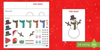 Postal, crie o seu próprio boneco de neve  - natal, natais, celebraçao, festa, natividade, solsticio de inverno, inverno, pai natal, papai noel,