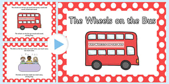Wheels on the Bus Lyrics - the wheels on the bus powerpoint, wheels on the bus, nursery rhymes, nursery rhyme powerpoint, wheels on the bus nursery rhyme, wheels onthe bus