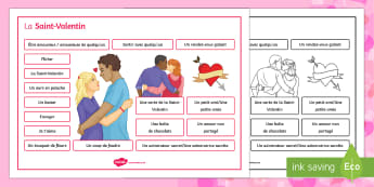Valentine's Day Word Mat - Valentine's Day, French, 14th February, Saint Valentin, word, vocabulary, vocabulaire, mat,French