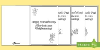 Women's Day Card Templates Colouring Pages English/German - Woman, history, topics, EAL, German, English-German,,German-translation