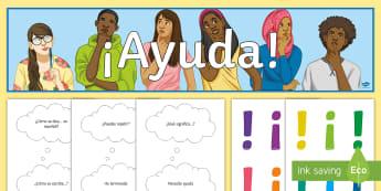 I Need Help Display Pack Spanish - help, visual, aid, target, language, classroom, decoration, organisation