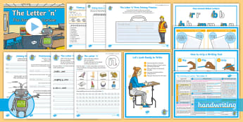 The Journey to Cursive: The Letter \'n\' (One Armed Robot Family Help Card 1) KS2  Activity Pack - English - Nelson handwriting, penpals, fluent, legible, joined