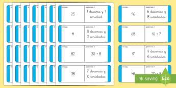 Tarjetas de emparejar: Valor posicional - 2 cifras - tarjetas de emparejar, emparejar, buscar, valor posicional, valor de las cifras, descomposición, n