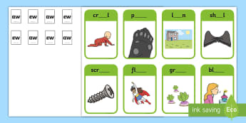Phase 5 Digraphs 'aw' 'ew' Matching Peg Activity - Letters And Sounds, Blend, Decode, Phonics, blends