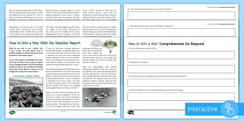 How to Win a War with the Weather Report Differentiated Comprehension Go Respond  Worksheet / Activity Sheets - Comprehensions KS3/4 English, reading comprehension, war, battle, Spanish Armada, D Day, Normandy La