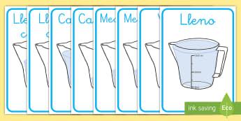 Pósters DIN A4: Vocabulario de capacidad en jarras - CI - medida, capacidad, mates, medir medida, medir capacidad, lleno, vacio, exponer, exposición, decorar