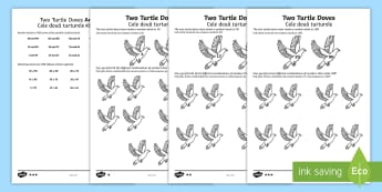 Two Turtle Doves Activity Sheet English/Romanian - Christmas Maths, Twelve Days of Christmas maths, worksheet, number bonds, pair, total, find, reason,