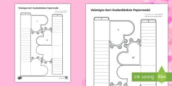 Eenvoudige 3D Valentyns Geskenkboksie Aktiwiteit Papier Kuns - liefde, spesiaal, sjokolade, blomme, ruiker, drukkie, hart