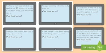 Internet and Phone Safety Prompt Cards - safety, phone, internet, catfishing, bullying, technology, cyber bullying, staying safe, virtual rea