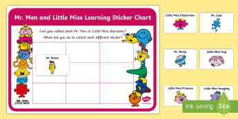 Mr. Men and Little Miss Sticker Reward Chart - Characteristics Of Effective Learning, Assessment, Early Years, CoEL, Mr Men, CofEL, Prompts, Sticke