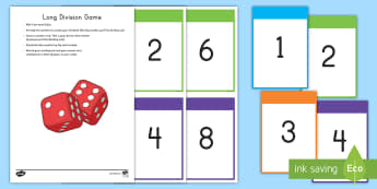 Long Division Game - long division, division, game, dice game, Numbers in Base Ten, number cards, large numbers, common c