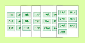 Calendar Dates Labels - Dates, date, calendar, months, days, date display