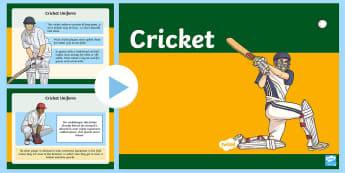 Cricket PowerPoint - Cricket, sport, PE, games, ashes, batsman, Australia, ashes, the ashes, physical education,Australia