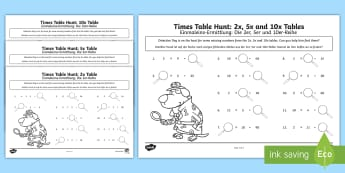 Times Tables Missing Numbers Activity Sheet - English / German - Englisch / Deutsche-German-translation - EAL, German, KS1, maths, tables, counting in twos, counting in fives, counting in tens, tables, mult