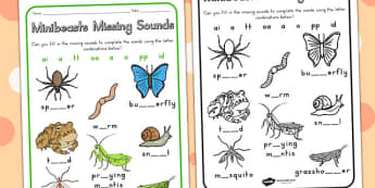 Minibeasts Missing Sounds Worksheet - sounds, sound games, sound