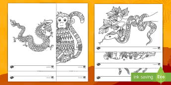 Chinese New Year Animals of the Zodiac Mindfulness Colouring Pages - Chinese New Year Mindfulness Colouring Sheets - chinese new year, mindfulness, colouring, colour, st