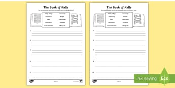 The Book of Kells Writing Activity Sheet - history, manuscript, monks, monastery, land of saints and scholars, early christian ireland,Irish