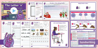 The Journey to Cursive: The Letter \'v\' (Zigzag Monster Family Help Card 2) KS2 Activity Pack - English -  Nelson handwriting, penpals, fluent, joined, legible, handwriting, letterjoin, handwriting interven